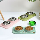 With Holder Stainless Steel Bowls Water Bowl Cats Bowl Pet Feeder Dog Food Dish