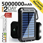 5000000mAh Best Solar Power Bank Portable External Battery 2USB Quick Charger US