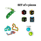 Fidget Toy Wacky Tracks Snake Cube Bean Simple Dimple Anxiety Stress Relief 4pcs