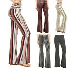 Womens High Waist Flared Wide Leg Work Yoga Striped Bell-bottom Trousers Pants