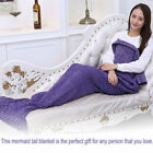 Handmade Knitted Crocheted Sofa Mermaid Tail Blanket For Adults Soft Warm ws