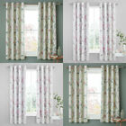 Catherine Lansfield Floral Trail Lined Eyelet Curtains