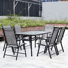 Metal Garden Round Patio Outdoor Dining Parasol Glass Table & Folding Chairs Set