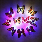 1-12x Colorful 3d Butterfly Led Night Light Wall Sticker Bedroom Home Art Decor