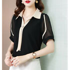 Ladies Summer Tie Collared Short Sleeve Chiffon T Shirt OL Fashion Blouse Tops