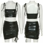 Women's Patent Leather Lace-up Strap Crop Top with Bodycon Mini Skirt Clubwear