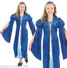 Girl's Child's Rich Blue Tudor Medieval Girl Book Day Fancy Dress Costume Outfit
