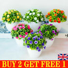Artificial Potted Flowers Fake False Plants Outdoor Garden Home In Pot Decor Pp