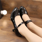Womens Mid Block Heels Patent Leather Mary Jane Pumps Ankle Strap Shoes Size 8.5