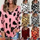 Women Casual Leopard Print V Neck Long Sleeve Loose T Shirt Pullover Tops Blouse