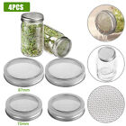 4x Sprouting Lid Mason Jar Screen Strainer Filter Cover Steel Wide/Regular Mouth