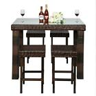 Garden Lawn Rattan Patio Furniture Set  Wicker Bar Table & Stools Dining Sets Us