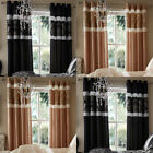 Catherine Lansfield Glamour Jacquard Faux Silk Eyelet Lined Curtains