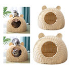 Solid Rattan Cat Bed Nest Wicker Cat Shaped Cage Hideaway House Dome Toy
