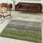 Dark Green Striped Rug Flecked Shaggy Runners Rugs Non Shed Living Room Rug