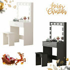Dressing Table Set with LED Lights Mirror Vanity Table with Mirror and Stool New