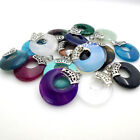 Amethyst Turquoise Agate Crystal Round Donut Silver Ring Pendant Fits Necklace